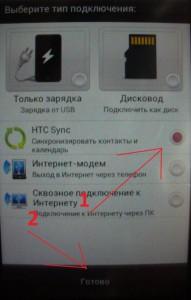 Синхронизация HTC - Меню